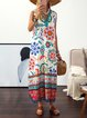 Plus Size Floral Print Vacation Women Summer Maxi Dresses