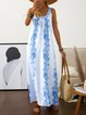 Women Dress Tribal Print Scoop Neckline Spaghetti Maxi Dresses