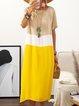 Plus Size Color Block Women Summer Midi Dresses