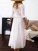V Neck White Women Summer Dresses Shift Beach Boho Plain Dresses