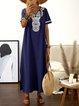 V neck Deep blue Women Daily Basic Cotton Paneled Floral Summer Dress
