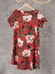 Shift Women Short Sleeve Linen Printed Casual Dress