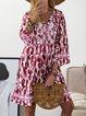 Kaftan Floral-Print Trible V Neck Daytime Boho Cotton Mini Dresses