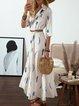Shawl Collar White Swing Women Half Sleeve Floral Floral Dress