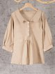 Buttoned Solid Peter Pan Collar Long Sleeve Sweet Blouses