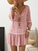 V neck lavender A-line Women Daily Basic 3/4 Sleeve Paneled Polka Dots Summer Dress
