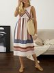 Apricot A-line Women Going out Cotton Spaghetti Casual Paneled Striped Floral Dress