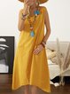 Women Summer Sleeveless Midi Dresses Crew Neck  A-Line Daily Cotton Plain Dresses