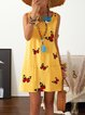 Cotton-Blend Sleeveless Butterfly Casual Dresses