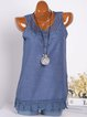 Women Plus Size Crocheted Paneled Crew Neck Casual Sleeveless Tanks