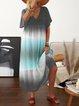 Plus Size Color-block Beach Women Summer Maxi Dresses