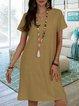 V Neck Women Summer Dresses Daily Casual Cotton Dresses