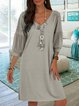V Neck Women Solid Midi Casual Dresses