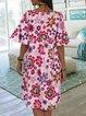 Half Sleeve Floral V Neck Dresses