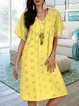 Laser Cut Panel V Neck shift Daily Cotton-Blend Dresses