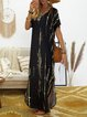 Casual Tie Dye Loose Split Short Sleeve V-neck Maxi Dress For Women