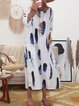 White Cocoon Women Daytime 3/4 Sleeve Casual Printed Striped Summer Dress