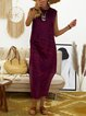 Crew Neck Purplish Red Women Dresses Shift Boho Dresses