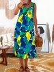 Women Floral Caftan Sleeveless Midi Dresses
