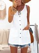 Buttoned Pockets Plain Crew Neck Shift Daily Casual Dresses