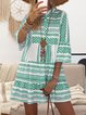 V neck  Swing Women Daily Cotton Bell Sleeve Printed Tribal Summer Dress