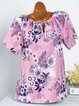 Printed Floral Casual Short Sleeve T-Shirts