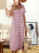 Women Summer Stripes Midi Shirt Dresses Shirt Collar  Shift Boho Cotton Dresses
