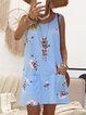 Crew Neck Women Summer Dresses Shift Casual Paneled Dresses