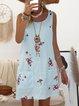 Shift Sleeveless Paneled Floral Crew Neck Summer Dresses