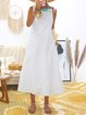 Cotton Striped Dresses Crew Neck Light Gray Women Dresses Shift Daily