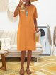Crew Neck Women Dresses Paneled Solid Dresses