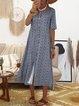 Floral Midi Dress Plus Size Summer Crew Neck Dresses