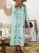 V Neck Women Dresses Cotton Embroidered Dresses