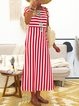 A-line Women Beach Holiday Short Sleeve Cotton Striped Summer Dress