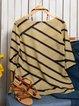 Holiday Printed Stripes Holiday 3/4 Sleeve Paneled Tops