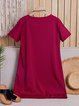 Women Daytime Short Sleeve Casual Pockets  Summer Dress
