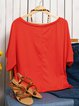 Off Shoulder Printed Casual T-Shirts