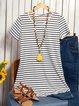 Women Summer A-Line Striped Casual T-shirt &Mini Beach Dresses