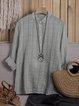 Light blue Silk Striped V neck Plus Size Chic Blouses