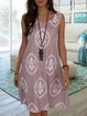 V Neck Casual Tribal A-Line Dresses