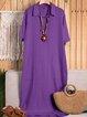 White Women  Shift Date Linen V neck Plain Dresses
