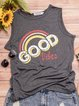 Gray Round Neck Casual Cotton Sleeveless Vests Tank Tops