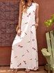 V Neck White Women Dresses Shift Daily Vintage Dresses