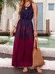 Halter Purple Swing Women Holiday Sleeveless Elegant Slit Prom Dress