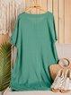 V neck  Shift Women Casual Short Sleeve Solid Summer Dress