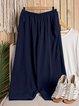 Casual Linen Solid Pockets Elastic Band Pants