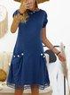 Crew Neck Women Dresses Work Cotton-Blend Dresses