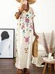 V neck Light_green Women Daily Short Sleeve Basic Slit Floral Summer Dress