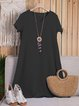 V Neck Laser Cut Shift Short Sleeve  Date Cotton-Blend Plain Casual Summer Dresses