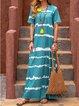 Women Dress Tie-Dye Print V-Neck Shift Casual Dresses